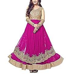 Fabeavan Women's Net Anarkali Semi Stitched Dress Material