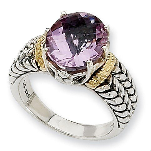 Sterling Silver With 14ct 3.30Pink Amethyst Ring - Ring Size Options Range: L to P