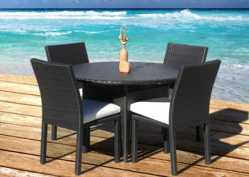 Outdoor Patio Wicker Furniture New Resin 5 Piece Round