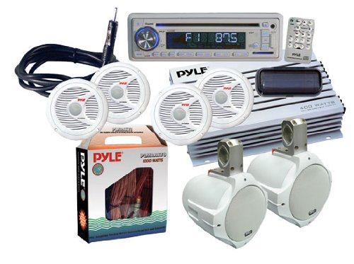 Pyle Ktmra8Sp Complete Marine Water Proof 6 Speaker Cd/Usb/Mp3/Combo W/ Stereo Cover White