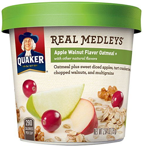 Quaker Real Medleys Oatmeal+, Apple Walnut, Instant Oatmeal+ Breakfast Cereal, (Pack of 12) (Amazon Pantry Service compare prices)