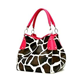 Pink Fuchsia Giraffe Designer Inspired Animal Print Handbag Purse Bag Tote Purse