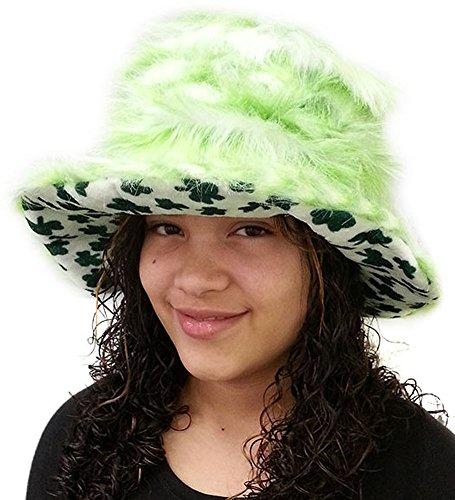 Shamrock Furry Bucket Hat - St. Patricks Day Irish Shamrock Furry Bucket Hat (White Felt Beard)