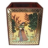 Crafts Paradise - Rajasthani Handicrafts Gemstone And Wooden Square Pen Stand With Beautiful Painting
