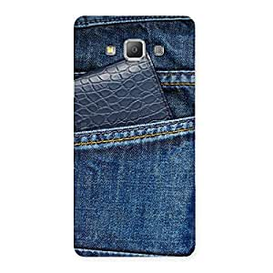 Special Denim Black Vallet Print Back Case Cover for Galaxy A7