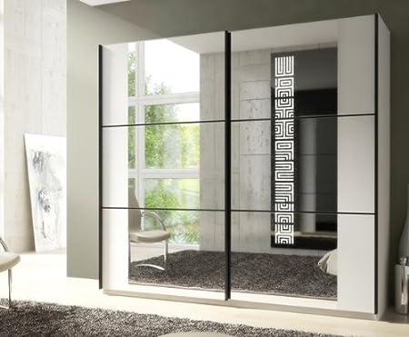 Schiebeturenschrank Kleiderschrank 215322 weiß mit Spiegel 219 cm