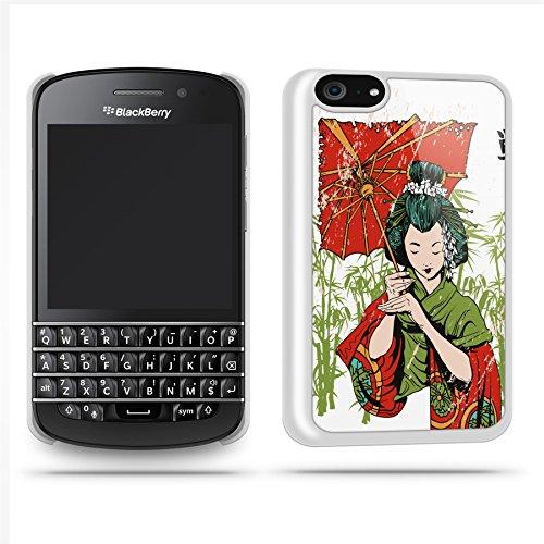 Geisha Umbrella Phone Case Shell For Blackberry Q10 - White