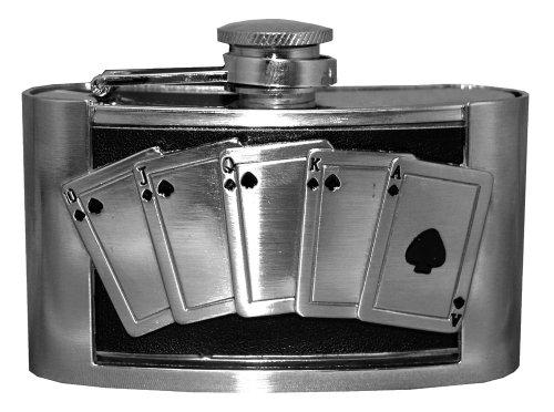 Royal Flush Poker Vegas Metal Flask Belt Buckle