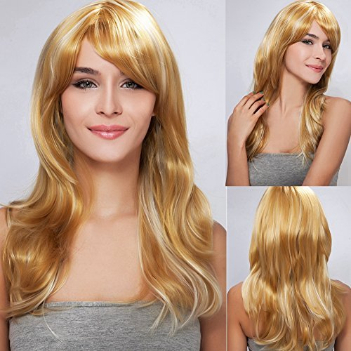 Diy-Wig Long Light Gold Mixed Silver Highlight Natural Slight Wave Full Head Wigs Soft Side Bang Hair Trendy Daily Wig or Cosplay Use by Diy-Wig