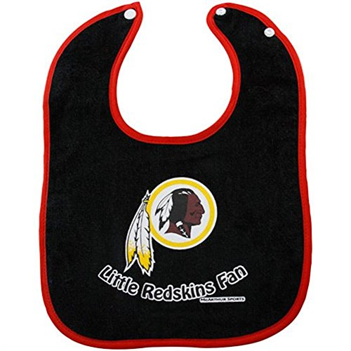 Nfl Mcarthur Washington Redskins Baby Black Terry Cloth Bib front-340238