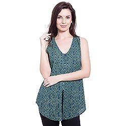 TUNTUK Women's Rastogi Top Green Cotton Top
