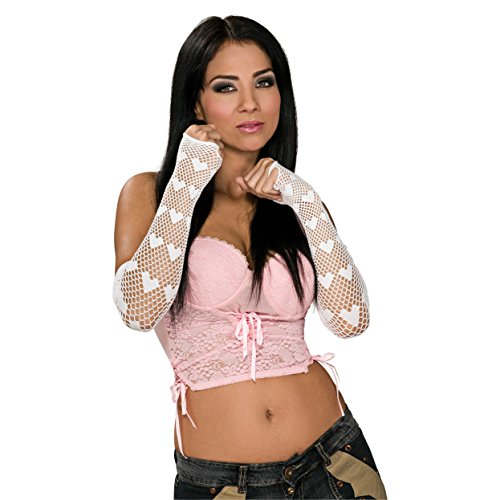 Rubie's Costume White Fingerless Net Heart Glove