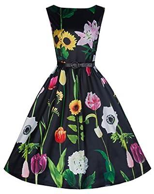 Lindy Bop 'Audrey' Stunning Vintage 50's Wild Garden Print Swing Dress