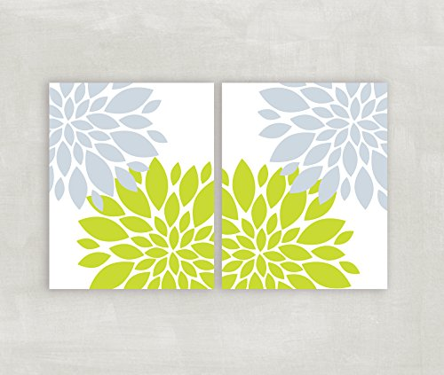 Blue Grey Lime Green wall art Floral burst home decor Flowers Dahlia pictures Bedroom wall art Modern bathroom wall art 2 8x10 prints UNFRAMED