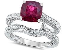 buy Star K 7Mm Cushion-Cut Created Ruby Wedding Set Size 6