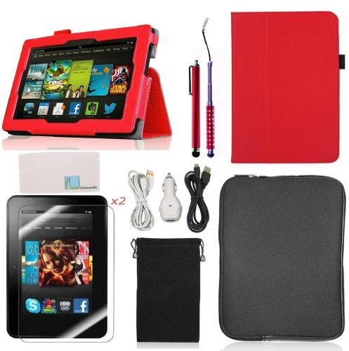 Llamamia Folio Stand PU Leather Case Cover Bundle for Kindle Fire HD 7 Inch (2013 Version) with Car Charger, Two 6F Cables, Velvet Bag, Zipper Sleeve Bag, 2 Screen Protectors, 2 Stylus(Not Compatible with Kindle Fire HDX 7 2013 Release)(Red) (Kindle Fire Hd Bundle Package compare prices)
