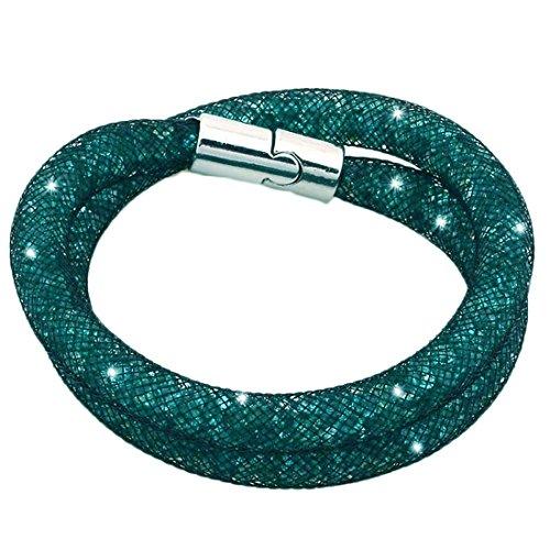 Braccialetto Stardust doppio Cristallo Zirconio Brilla Strass Tendenza Chiusura magnetica verde