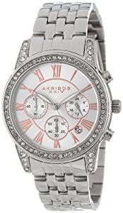 Akribos XXIV Women's AK587SS Ultimate Crystal Chronograph Stainless Steel Bracelet Watch