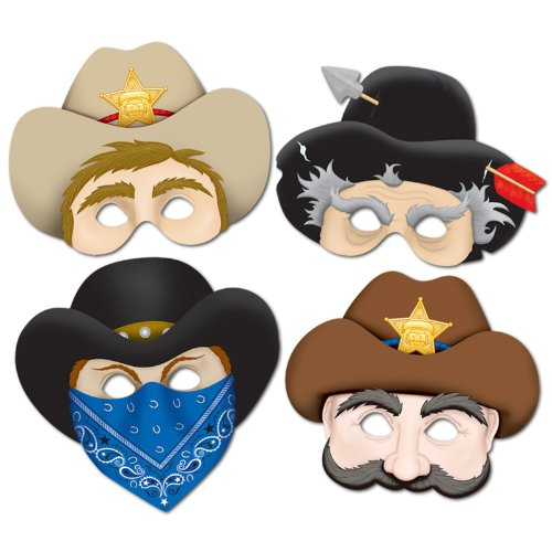 Western Masks Party Accessory (1 count) (4/Pkg)