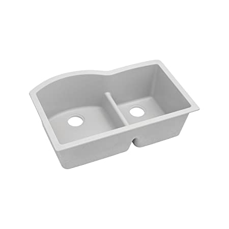 "Elkay ELGHU3322RWH0 Granite 33"" x 22"" x 10"" Double Bowl Undermount Kitchen Sink, White"