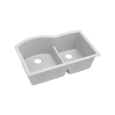 "Elkay ELGHU3322RWH0 Granite 33"" x 22"" x 10"" Double Bowl Undermount Kitchen Sink, White"