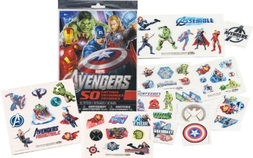 Marvel AVENGERS Temporary Tattoos - 50 Tattoos - Iron Man, Thor, Hulk, Captain America and more! by Savvi