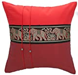 Avarada Striped Elephant Decorative Throw Pillow Cover 16x16 Inch Red Dark Red