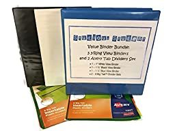 Value Binder Bundle: 3 Three-Ring View Binders and 2 Avery Tab Dividers Set