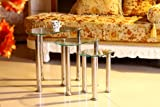 Cara Clear Glass Chrome Nest of 3 Coffee Tables New - NEXT DAY DELIVERY