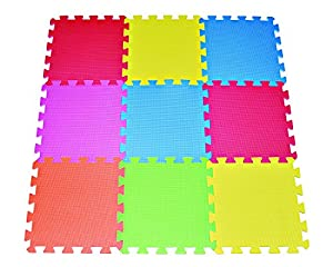 9-tile Multi-color Exercise Mat Solid Foam EVA Playmat Kids Safety Play Floor by Poco Divo by POCO DIVO