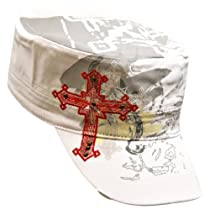 Luxury Divas White Military Cadet Cap With Studded Red & White Cross