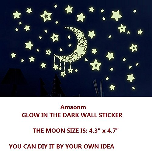 Amaonm® Removable Diy Glow in the Dark Luminous Light Moon Stars Wall Decals Stickers Home Art Decor Wall Decorative for Girls Babys Bedroom Study Room Play Room Tv Background Wall Decorations