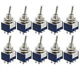 SODIAL(R) 10 Pcs AC 125V 6AON/ON 2ポジションDPDTスイッチ