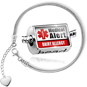 Charm Set Medical Alert Red Dairy Allergy - Bead comes with Bracelet , Neonblond from NEONBLOND