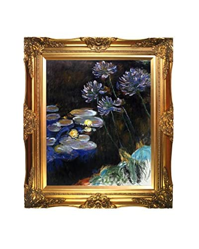 Claude Monet Water Lilies And Agapanthus Framed Hand-Painted Reproduction