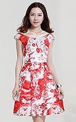Mahadev Enterprise Printed Western Dress ( Semi Stitched )-red
