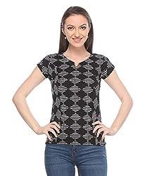 Wearsense Women's Top (Black and White, Medium)