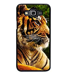 Fuson Premium 2D Back Case Cover Tiger With blue Background Degined For Samsung Galaxy Grand Max G720