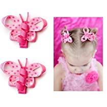 Pink baby girl butterfly hair bow clips (set of 2) by My Little Legs