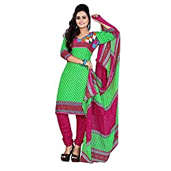 ARAJA FASHION GREEN&PINK COLOR COTTON PRINTED UNSTICHED CHURIDAR DRESS MATERIAL