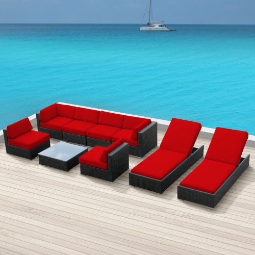 Luxxella Outdoor Patio Wicker BELLA 9 Pc Red Sofa Sectional Furniture All Weather Wicker Couch Set picture