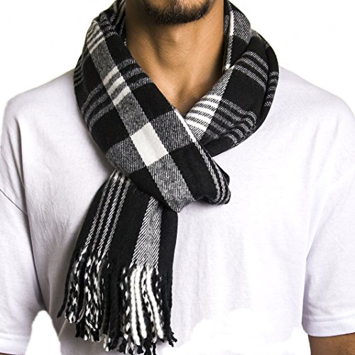 Alpine Swiss Winter Scarf Soft Elegant Fashion Wrap Scarves Black Plaid