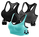 Fittin Womens Padded Sports Bras Wire Free  with Removable Pads Grey ,S