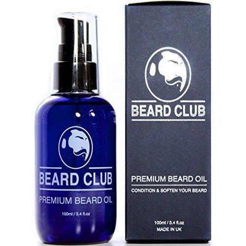 Olio da Barba Premium | 100ml (Bottiglia Grande) | Beard Club | Il miglior olio e emolliente per barba 100% Naturale & Organico per uomo | Cura della barba e della sua crescita | Grande balsamo / crema idratante per la