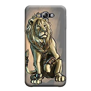 Desicase Samsung E5 Lion Art 3D Matte Finishing Printed Designer Hard Back Case Cover (Brown)