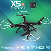 Syma X5SC Explorers 2 -2.4G 4 Channel 6-Axis Gyro RC Headless Quadcopter Helicopter With HD Camera(X5SC black)