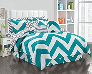 11 Piece Queen Chevron Teal/White Reversible Bed in a Bag Set