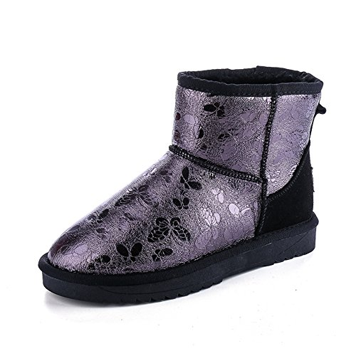 GIY Women Fashion Printing Ankle High Snow Boots Fur Lining Warm Winter Waterproof Bootie Slipper Shoes (Women Crock Boots compare prices)