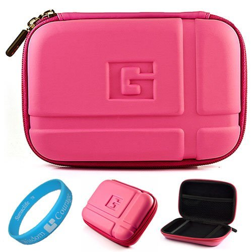 Magenta Durable 5.2-inch Protective GPS Carrying Case with Removable Carbineer for Garmin dezl 560LMT / 2450LM /2555LMT 560LT /1695 5 inch Portable GPS Navigation System + SumacLife TM Wisdom Courage Wristband