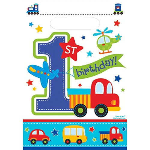 "Amscan All Aboard Boy 1st Birthday Folded Loot Bags, 9.5"" x 6.5"", White/Blue/Red/Green/Orange/Yellow"